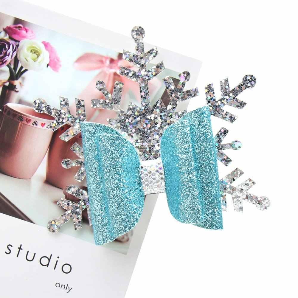 Accesorios para el cabello Clip para el cabello de Navidad para niñas brillante copo de nieve Horquillas para el cabello
