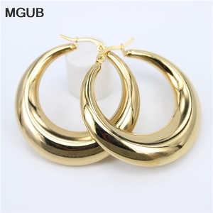 New Style 2020 Wholesale smooth Exquisite Big Circle Hoop Earrings for Women Girl Wedding Party Stainless Steel Jewelry SL020