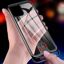מתכת פגוש מקרה עבור iPhone 11 פרו מקסימום מקרה למשוך בתוספת מזג זכוכית מאוד עמיד הלם חזרה כיסוי עבור iPhone 11 פרו מעטפת מקרה