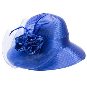 Image 5 - UV Protection Sun Hats for Women Satin Ribbon Feathers Floral Wide Brim Hats Floppy Kentucky Derby Church Tea Party Dressy A433