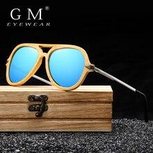 Бренд GM, винтажные бамбуковые и деревянные солнцезащитные очки, мужские и женские, фирменный дизайн, Бамбуковая оправа с металлическими солнцезащитными очками