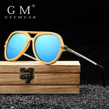 GM gafas de sol Vintage de bambú y madera para hombre y mujer, marca de diseñador, marco de bambú con gafas de sol de Metal