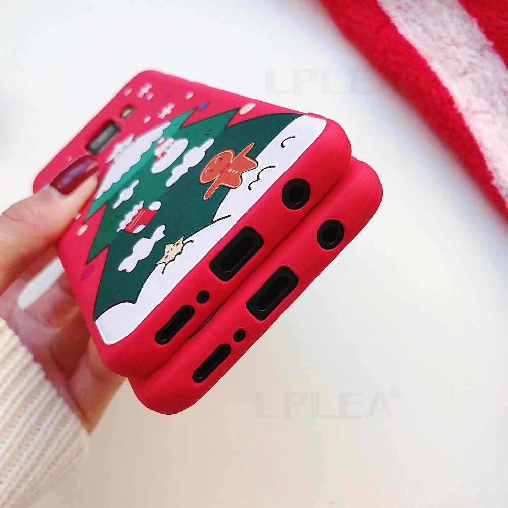 Natal Kartun untuk Samsung A50 A70 S8 S9 Plus S10 Lite Note 8 9 10 Plus A10 A20 a30 A40 Santa Claus Soft Cover