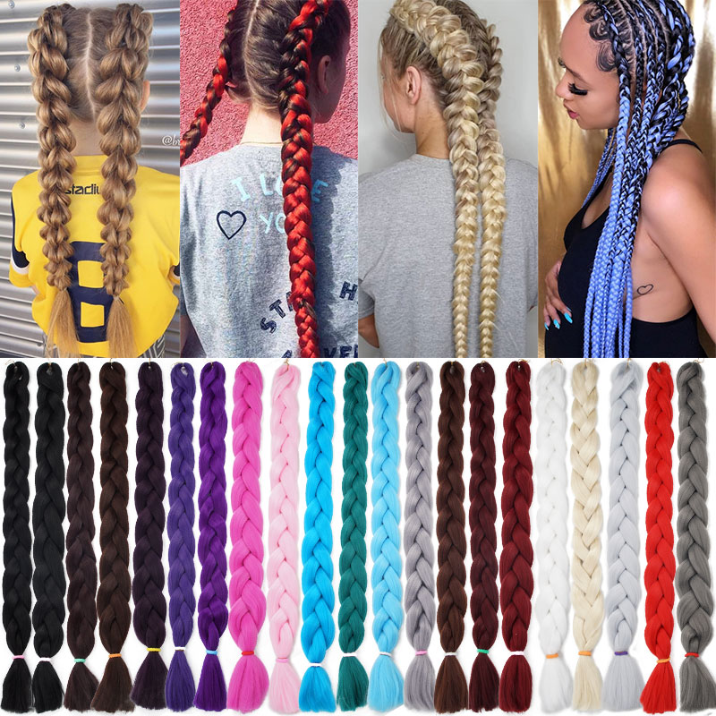 82 Inch 165g Ombre Xpression Jumbo Braiding Hair Pre Stretched Wholesale Synthetic Crochet Hair Extensions For Box Twist Braids