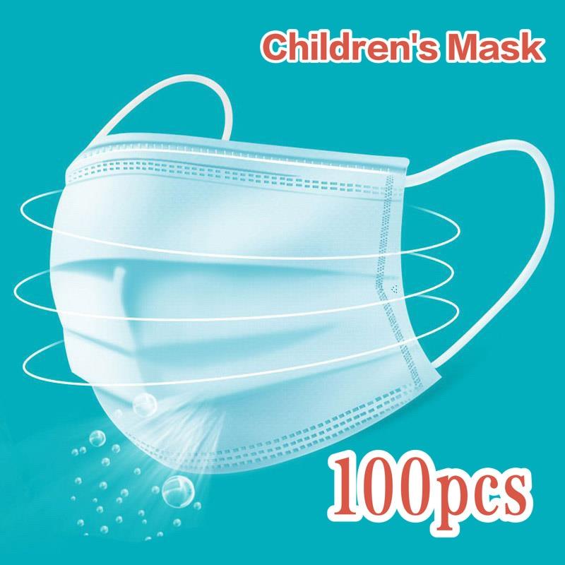 100PCS Profession Children's Mask 3 Layers Mask Baby Mask Anti-virus Mask Anti-bacterial Mask Anti-dust Mask Child Size Mask