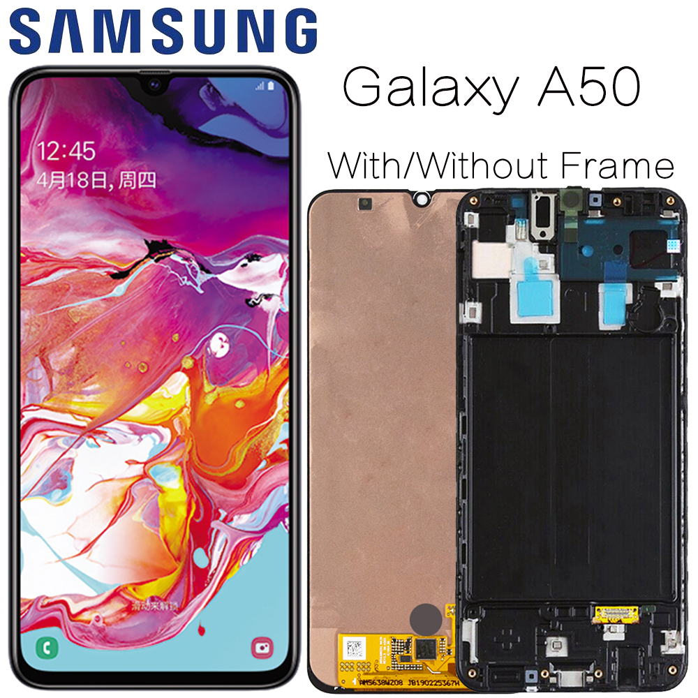 AMOLED For Samsung Galaxy A50 SM-A505FN/DS A505F/DS A505 LCD Display Touch Screen Digitizer Assembly With Frame For Samsung A50