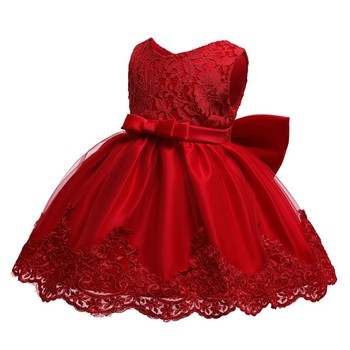 Baby Girls Big Bow Dress Children Lace Solid Color Party Elegant Princess Dress Wedding Kids Dresses Ball Gowns+headband #LR3 2017new china traditional red color girls children princess dress embroidery lace wedding birthday party ceremony dress for kids