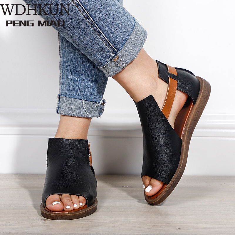 Summer Women Flat Sandals Soft PU Hook Loop Gladiator Ladies Fashion Open Toe Retro Rome Woman Shoes Female Casual Peep Toe New