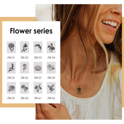 eManco Birth Flower Necklace Square Pendant Gold Charm Choker Trendy Romance Rose Pendent 316 Stainless Steel Jewelry Women Gift