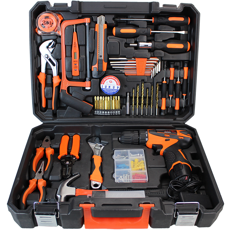 47 pcs/set Power Tools Set Cordless Li-Ion Drill and Hand Tools Kit Household Tool Case Screwdriver wood working tools PTS002