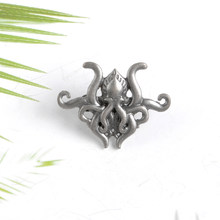 Silver color Octopus Brooch Fiction H.P. Lovecraft Cthulhu Pin Metal Badge Enamel Lapel Pins Gift for fans(China)