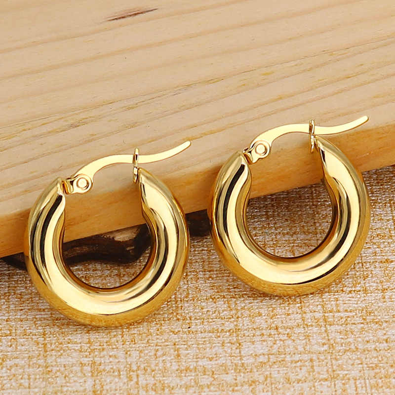 Chunky Anting Anting-Anting Lingkaran Emas Perak Anting-Anting Stainless Steel Klasik Perhiasan Hoops Huggie Kecil Hip Hop Fashion Korea MB032