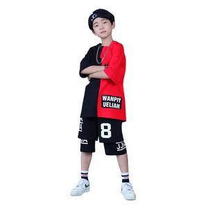 Image 3 - Детская одежда для бальных танцев для девочек и мальчиков; Короткая футболка для выступлений; Штаны для бега; Детский танцевальный костюм в стиле хип хоп