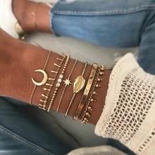 Conjunto de 7 Pulseras y brazaletes con diseño de Luna y concha de Metal estilo bohemio, accesorios étnicos para Mujer, brazalete con cadena de oro Punk, Pulseras para Mujer