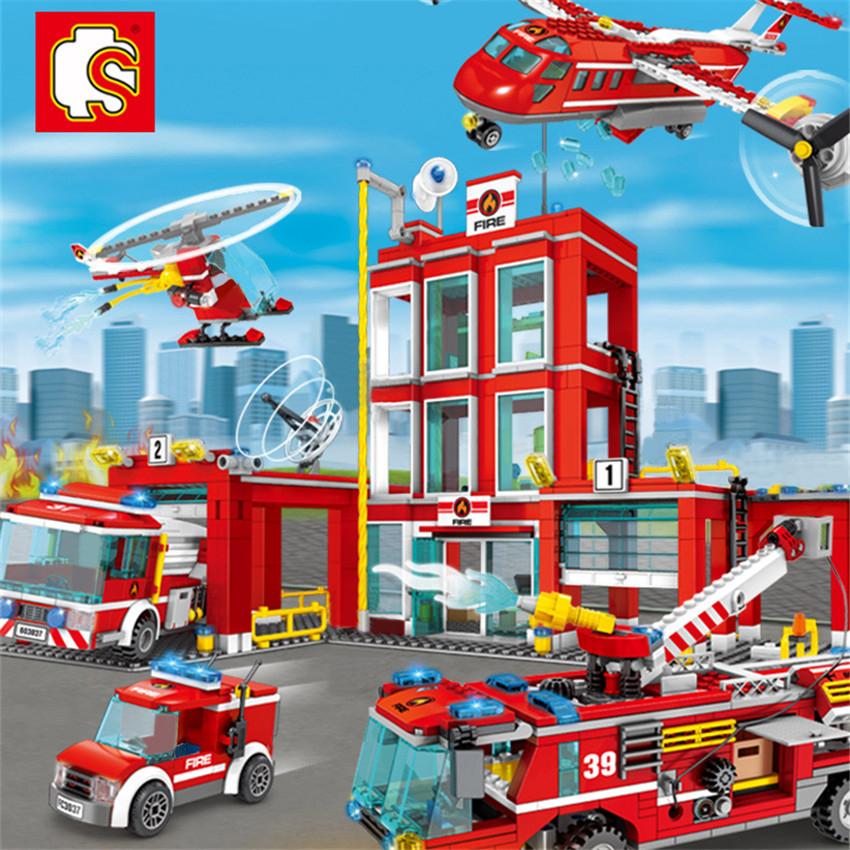 Sembo Block General Fire Department Legoingly City Fire Station Car Plane Boat Building Blocks Bricks Kits Bricks DIY Kids Toys