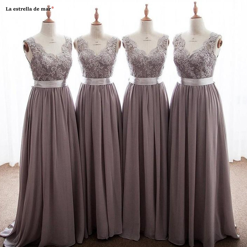 brownt Gray   Bridesmaid     Dresses   V Neck Appliques Lace Chiffon Backless Long With Ribbon Bow Wedding Party Gowns Real Photo Sukie