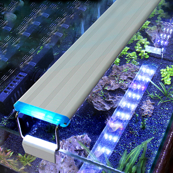 Aquarium LED Light Super Slim Fish Tank Aquatic Plant Grow Lighting Waterproof Bright Clip Lamp Blue LED 18-58cm for Fish Tank sunsun ads aquarium led lighting aquatic plant grass fish tank led light super bright lamp aquarium light 12 24w grow lampe 220v