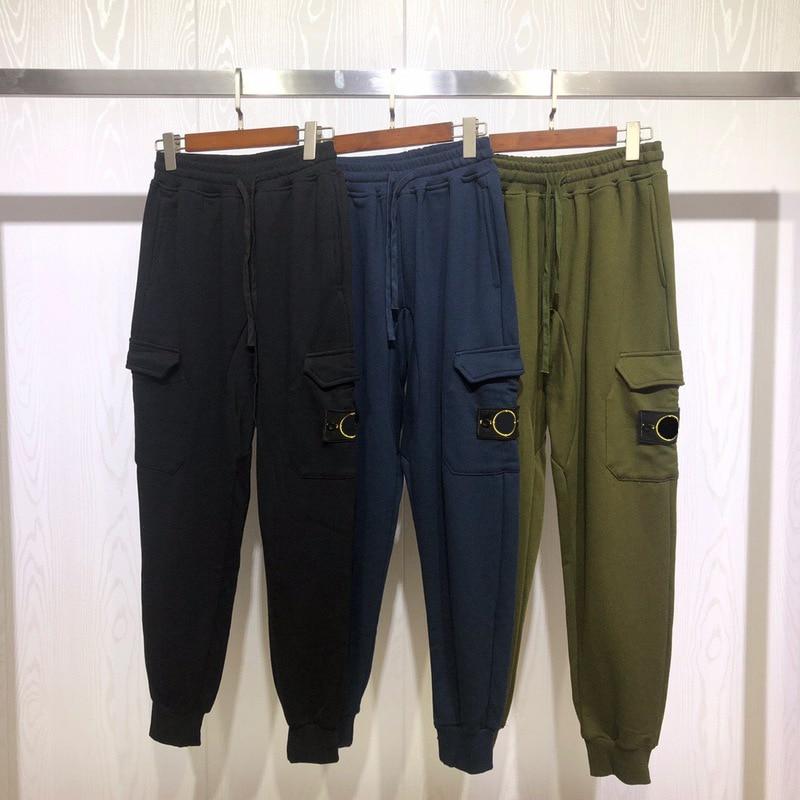 2019 Pockets Classic Design Compass Logo Embroidery Men Casual Jogger Pants Hiphop Streetwear Men Casual Sweatpants Joggers