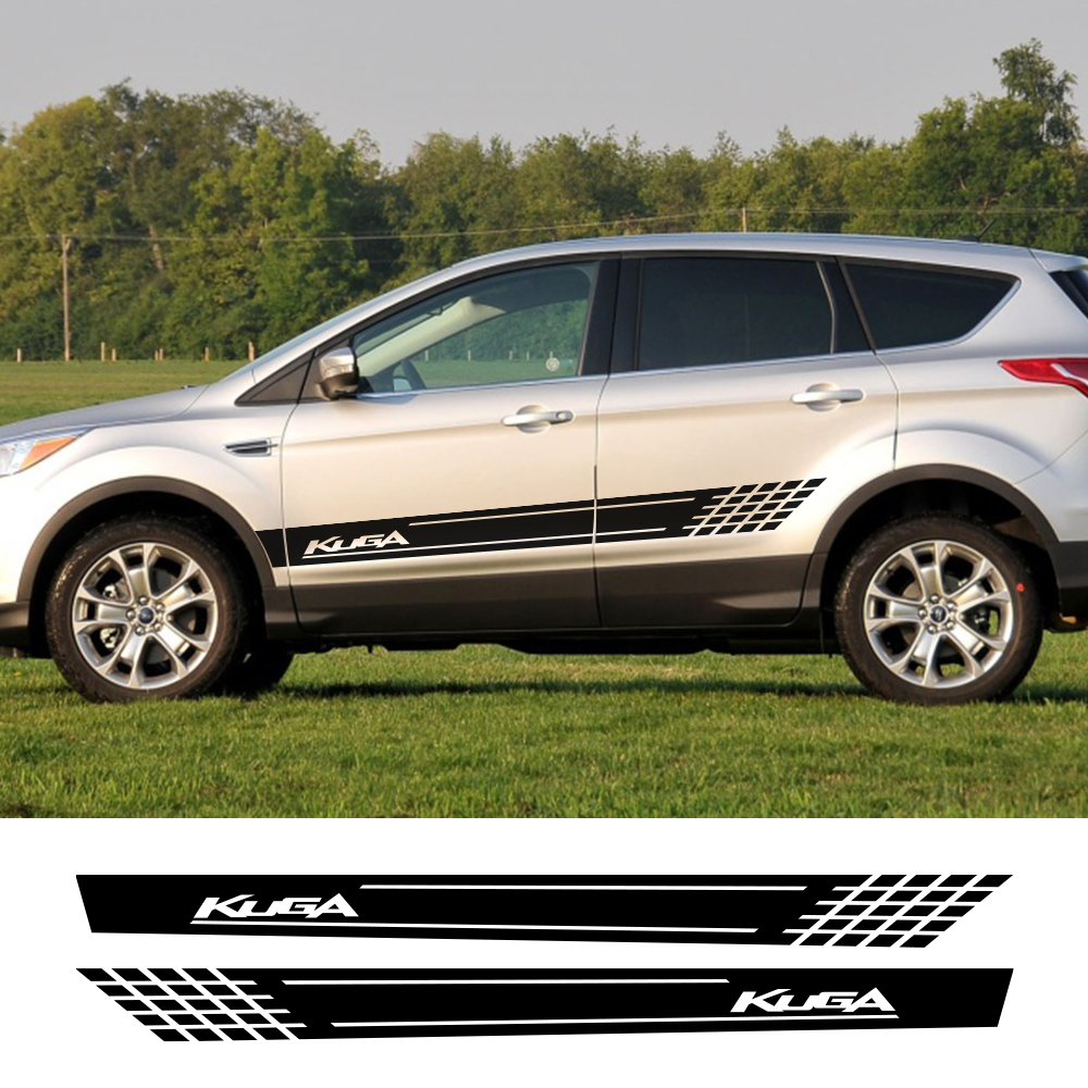 2PCS Auto Door Side Skirt Stripes Stickers For Ford Kuga Car Body Decoration Car Vinyl Films Reflective Decals Auto Accessories