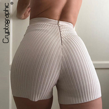 Comfy Shorts Sweat High-Waist Cryptographic Party-Outfits Club Zipper Fitness Fashion