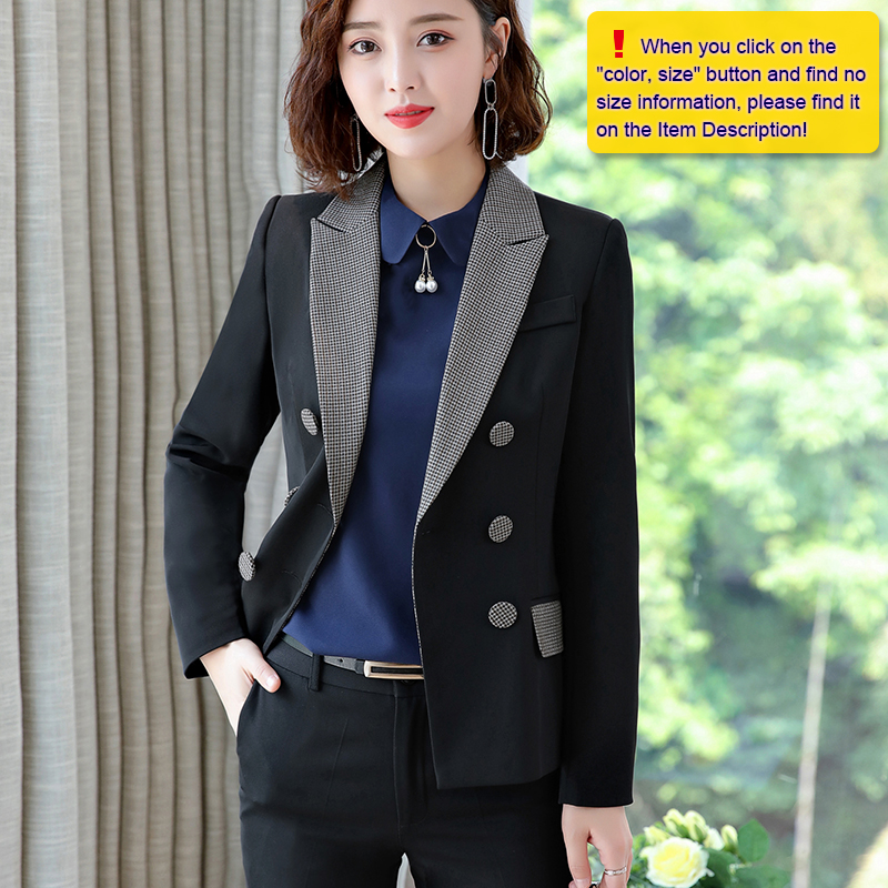 Lenshin High-quality 2 Piece Set Houndstooth Formal Pant Suit Blazer Office Lady Design Women Soft Jacket and Full-Length Pant 24