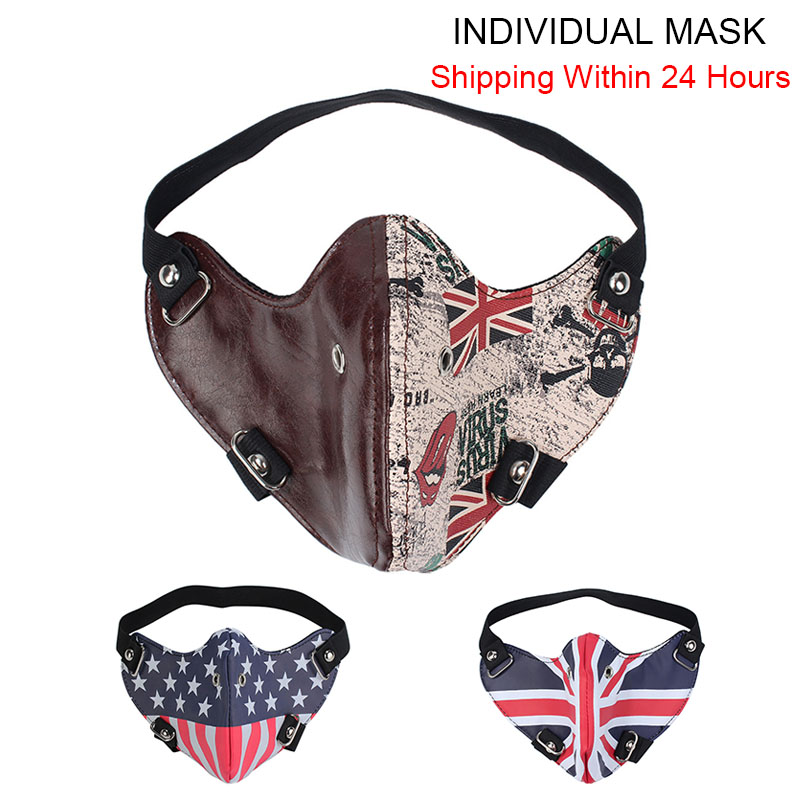 Men Woman Biker Motorcycle Mask Rock Punk Anti Fog Leather Headband Face Mask Union Jack Stars Stripes Flag Print Fast Delivery