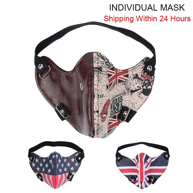 Men Woman Biker Motorcycle Mask Rock Punk Anti Fog Leather Headband Face Mask Union Jack Stars Stripes Flag Print Fast Delivery