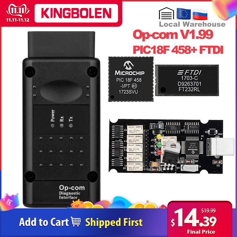 Op com V1.99 PIC18F458/FTDI Chip Diagnostic Tool Can Bus for Opel OBD2 Auto Scanner Op-Com 1.99 canbus OBDII Opcom