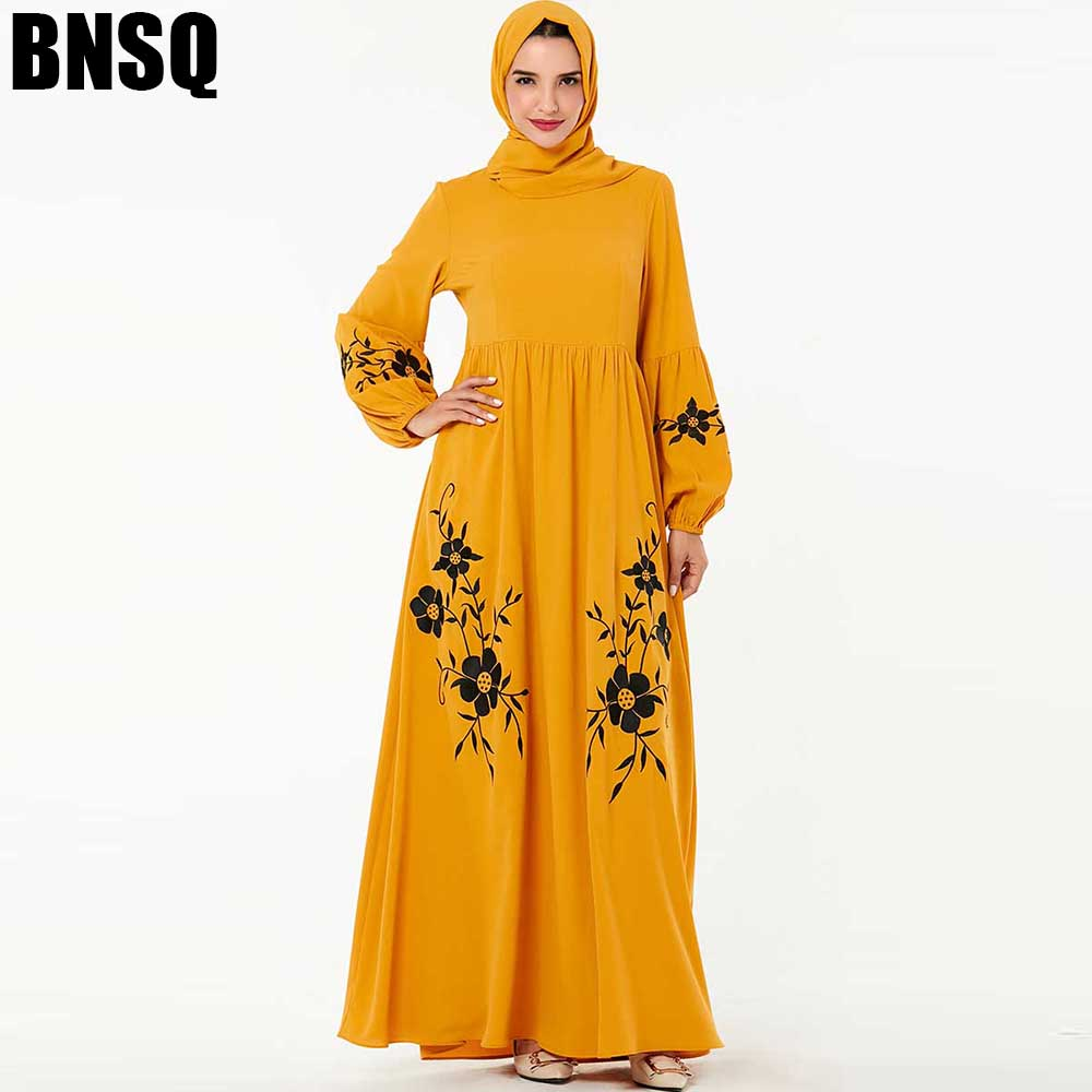 BNSQ Muslim Dress Abaya Caftan Clothing Jilbab Embroidery Maxi Turkey Kaftan moroccan Dubai Arabic Oma Indian Robe Dress image