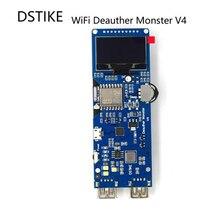 DSTIKE Placa de desarrollo WiFi Deauther Monster V4 ESP8266 18650, funda de antena de protección inversa, Banco de energía, 5V, 2A, I2 003