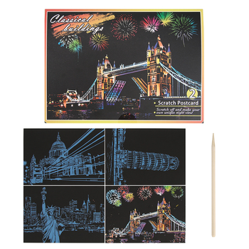 4pcs DIY Famous Building Art Doodle Scraping Painting Puzzle Drawing Toys  Scratch Art Paper Magic Painting Paper