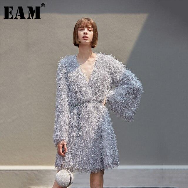 [EAM] femmes gris gland ceinture tempérament robe nouveau col en v à manches longues coupe ample mode marée tout match printemps automne 2020 1B158