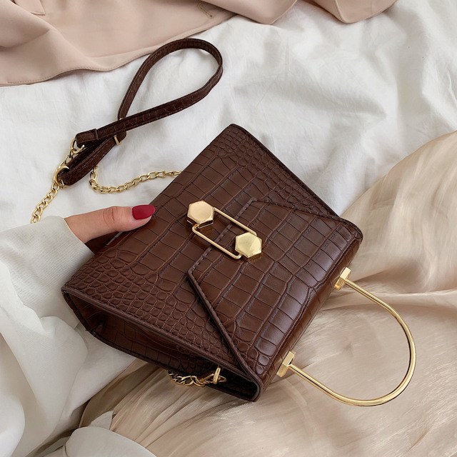Stone Pattern PU Leather Crossbody Bags For Women 2020 Small Totes With Metal Handle Lady Shoulder Messenger Bag Handbags 1