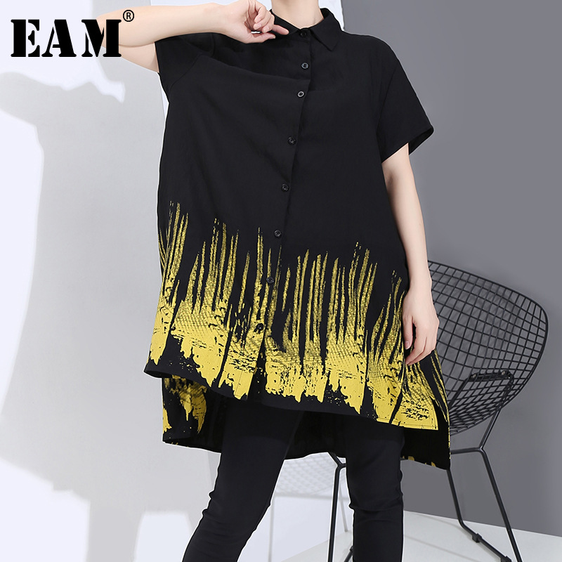 [EAM] Women Black Pattern Printed Big Size Blouse New Lapel Short Sleeve Loose Fit Shirt Fashion Tide Spring Summer 2020 1T743