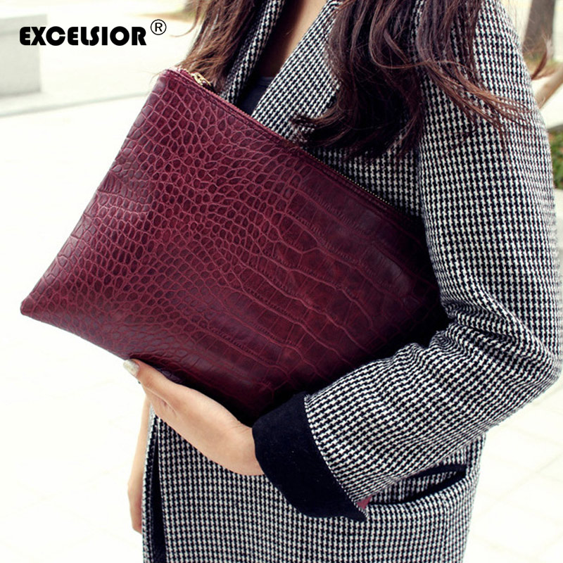 EXCELSIOR Women's Clutch New Arrival PU Leather Women's Bag Crocodile Pattern Clutches Handbags For Female 2019