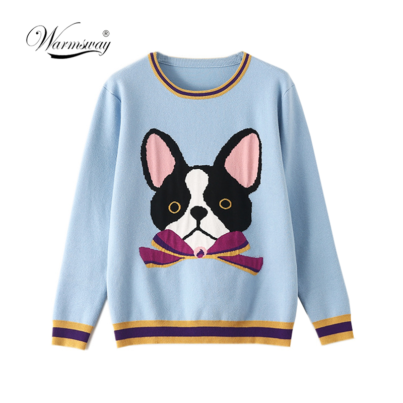 Luxury Brand Designer Knitted Pullovers For Women Contrast Bow Cartoon Dog Knitted Sweater C-461