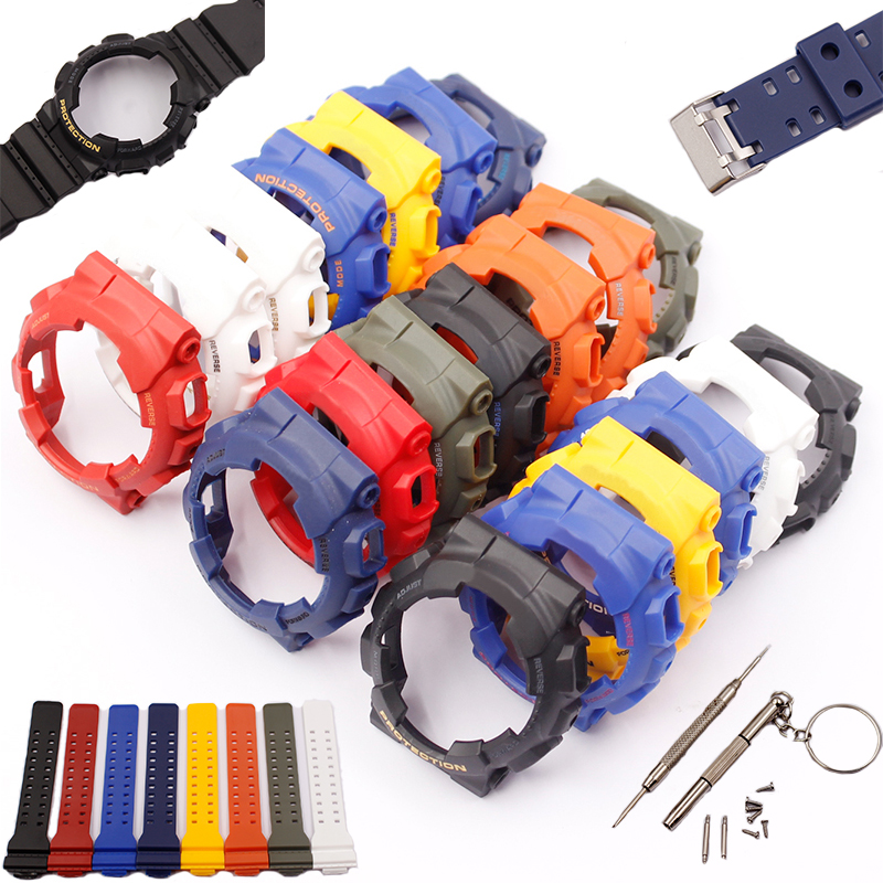 Watch Accessories For Casio G-shock GD120 GA 100 GA 110 GA 100C Resin Strap Case Kit Men's Waterproof Sports Watch Belt