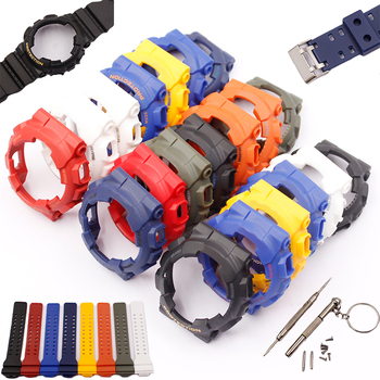 цена на Watch Accessories For Casio G-shock GD120 GA 100 GA 110 GA 100C Resin Strap Case Kit Men's waterproof sports watch belt
