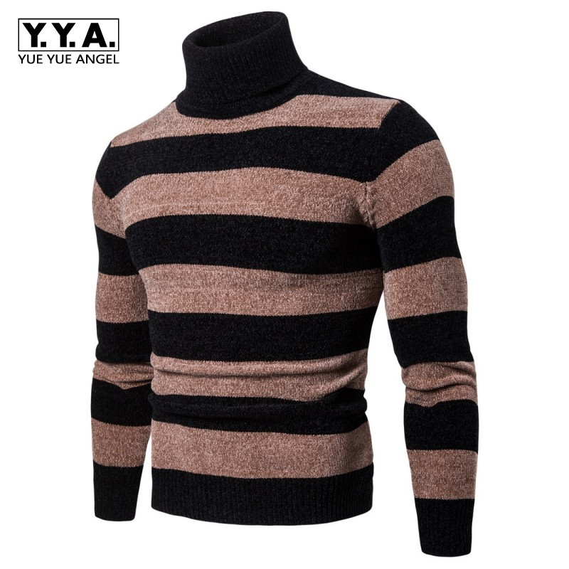2020 New Winter Casual Sweaters For Men Fashion Striped Men Turtleneck Sweater Slim Fit Knitted Pullover Sweater Plus Size