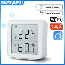 Awaywar tuya wifi sensor de temperatura e umidade higrômetro indoor termômetro detector suporte alexa google casa inteligente vida