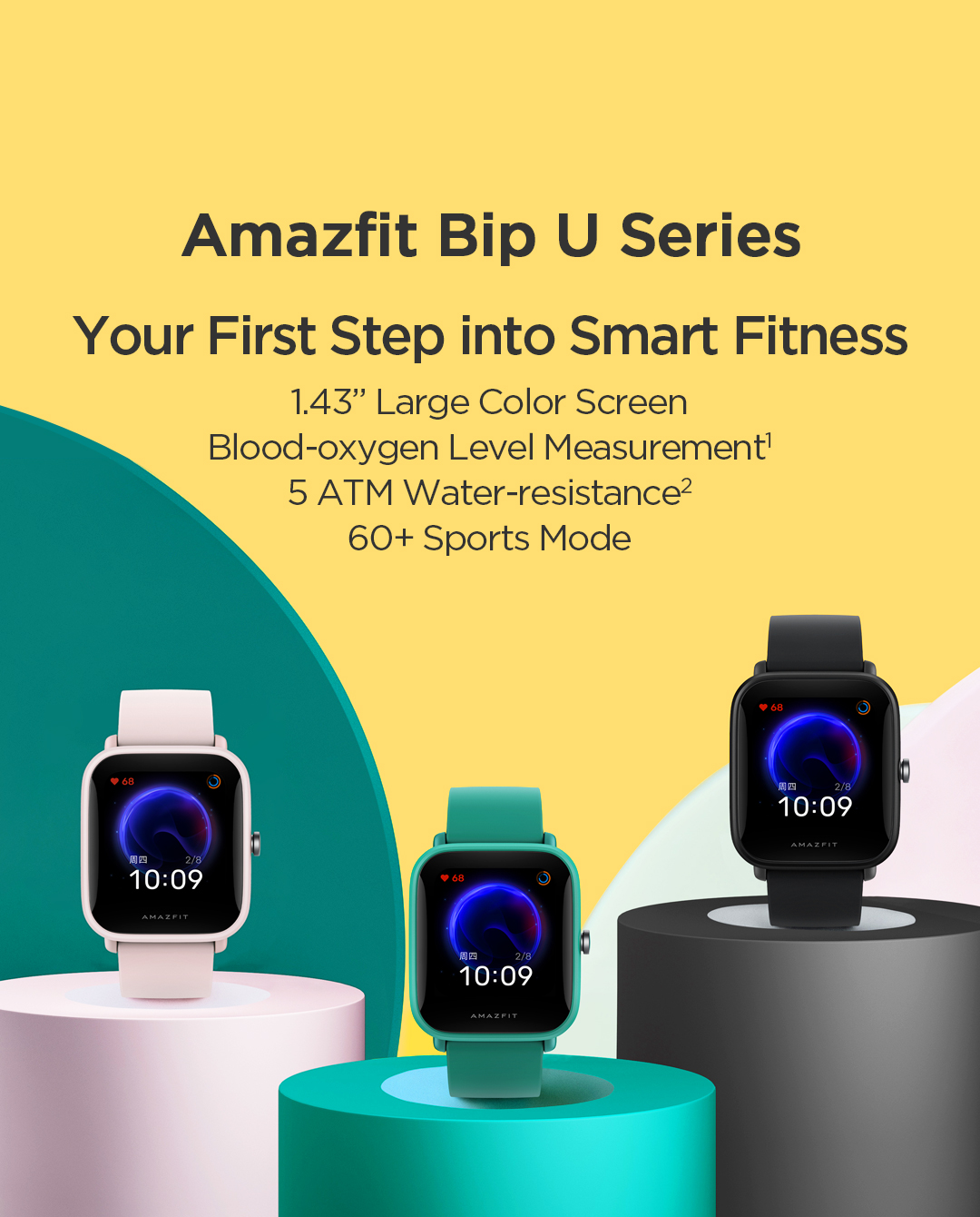 AMAZFIT Bip U Smartwatch, jam tangan pintar, bluetooth, 5ATM, smart fitness, 1.4 inch screen, sports more