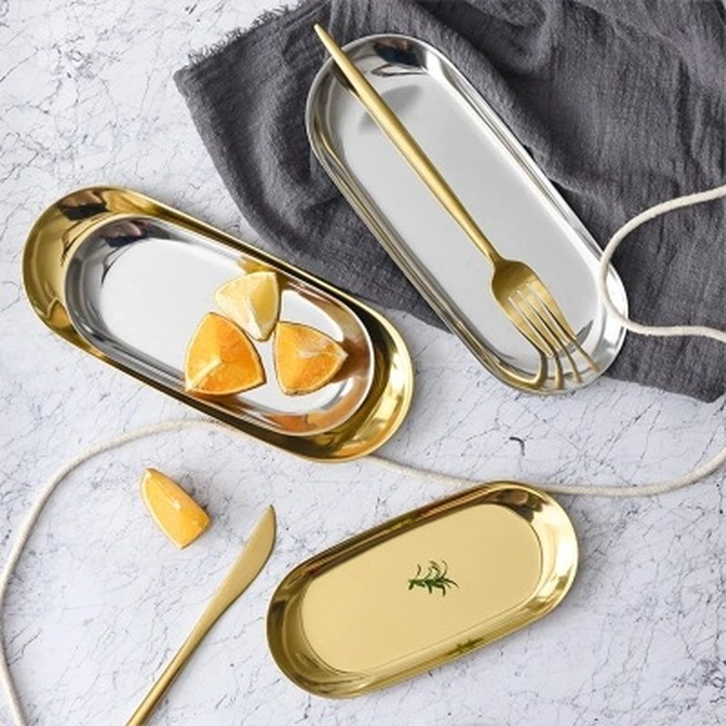 Tray-Mirror Storage-Tray Jewelry Fruit-Plate Display Gold Metal Colorful Oval 1pcs Small-Items