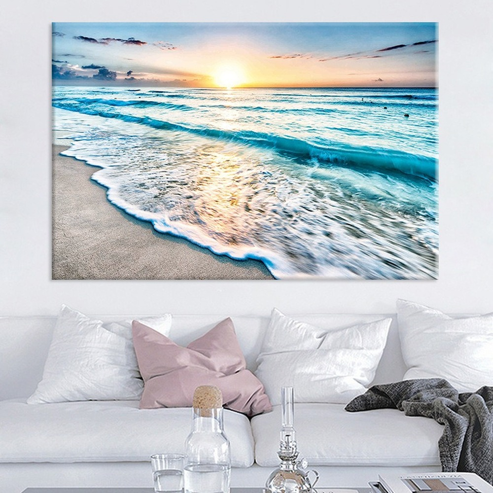 Nordic Modern Seaside Sunrise Canvas Painting Sun Beach Sea Landscape Wall Art Posters Pictures For Living Room Home Decor