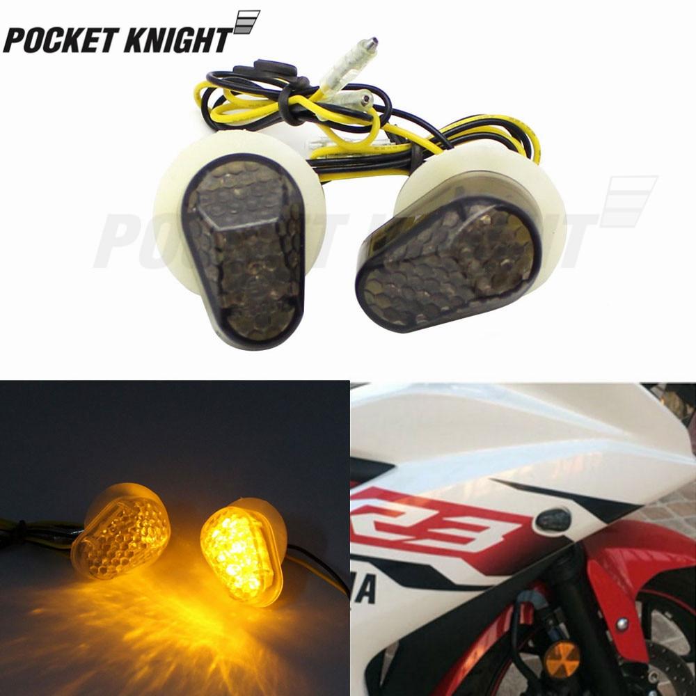 LED Turn Signal Indicator  Light Embedded For YAMAHA YZF R25 R3 R1 R6 R6S FZ1 FZ6 FZ8 FAZER XJ6 Motorcycle  Blinker