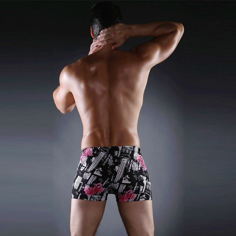 Swimming Trunks 2019 New Style MEN'S Swimming Trunks Fashion Printed Boxer Plus-sized Beach Hot Springs Swimming Trunks