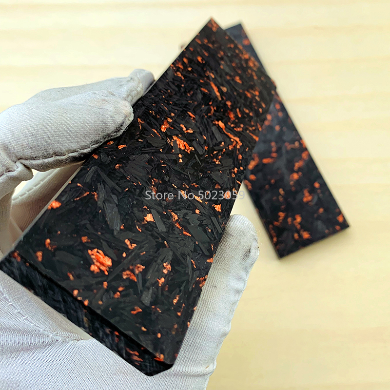 2pieces CF Carbon Fiber Black Marble With Resin For DIY Knife Handle Material Copper Powder Compression Patch Plate 137X40X4mm