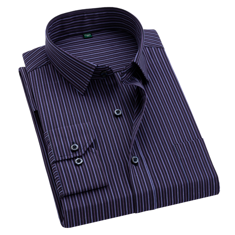 Classical striped men shirts long sleeve square collar easy care business casual striped dress shirts for Man Mens Clothes
