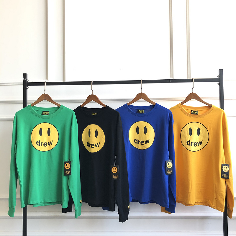 2020ss Best Quality Justin Bieber Drew House Long Sleeve T Shirt Men Women Couples HipHop Drew Smile Face Printed Tops Tees