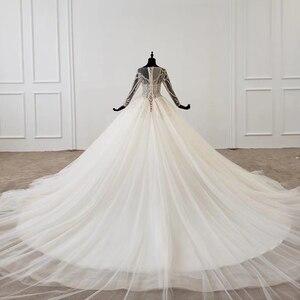 Image 2 - HTL1149 夜会服のウェディングドレス 2020 レースoネックレースアップバックコルセットブライダルドレス長袖ビーズ платье свадебное