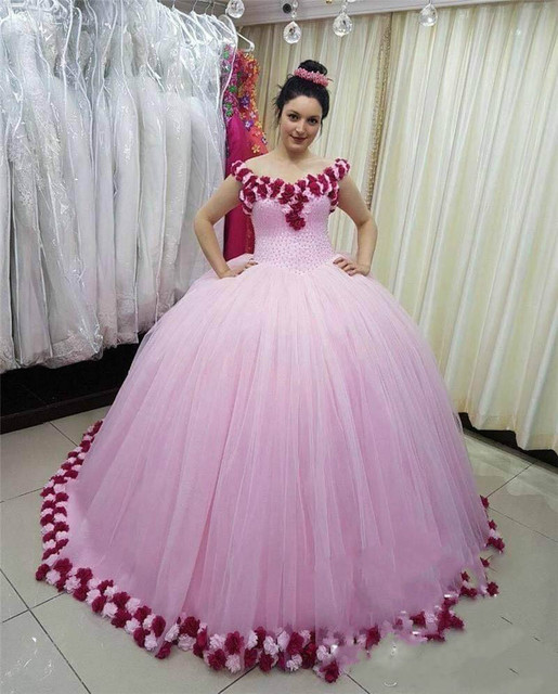 Pink Tulle Ball Gown Quinceanera Dresses With 3D Handmade Flower Pearls Princess Sweet 16 Dresses vestidos de 15 anos Prom Dress